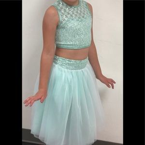 Two piece lyrical costume.  Sparkly teal. CM
